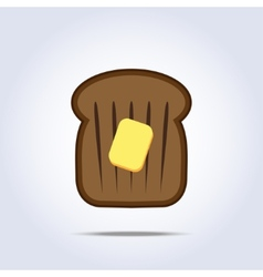 Black bread toast icon with butter vector
