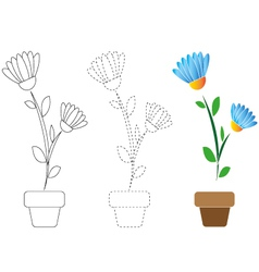 Blue flower for coloring and contour vector