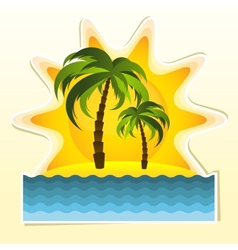 Island with two palms and sun vector