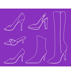 Collection of women shoes vector