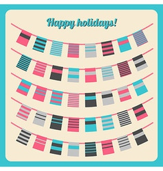 Set of bunting and garland in retro colors vector