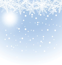 Christmas snowflakes and sun on blue background vector
