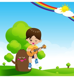 Cute little boy child playing a music guitar on vector
