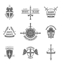 Heraldic coat of arms labels set vector