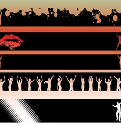 Black strips dancers and lips vector