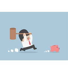 Businessman try to smashing piggy bank vector