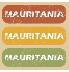 Vintage mauritania stamp set vector