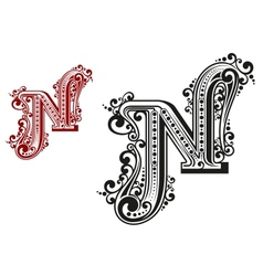 N letter in vintage calligraphic style vector