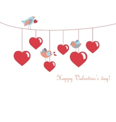 Cute birds celebrating valentines day vector