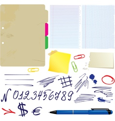 Different papers hand drawn numbers and symbols vector
