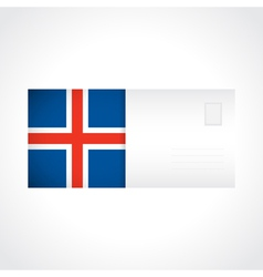 Envelope with icelandic flag card vector