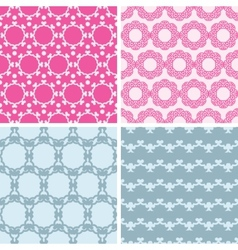 Four abstract chain motives seamless patterns set vector