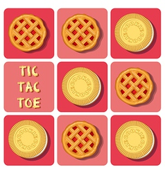 Tic-tac-toe of cookie and strawberry pie vector