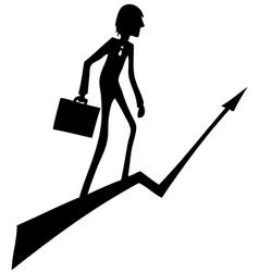 Businessman rises up through the arrow vector