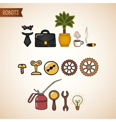 Steampunk technology icons set vector