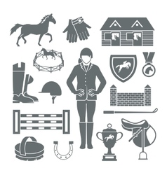 Jockey icons black vector