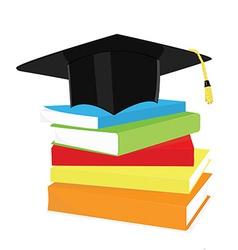 Graduation cap and book stack vector