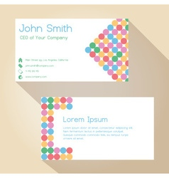 Color funky dotted white simple business card vector