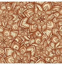 Vintage floral pattern with doodle flowers vector