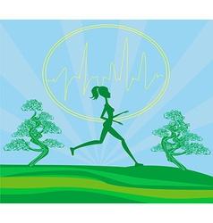 Jogging girl - card vector