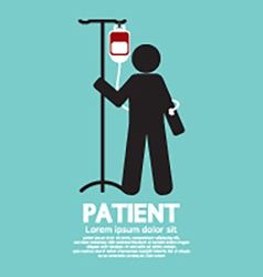 Patient with saline solution graphic symbol vector