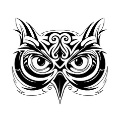 Owl head tattoo vector