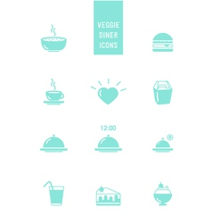 Veggie burger diner icons vector