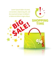 Bright green shopping bag vector