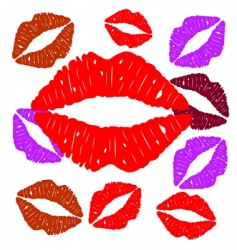 Imprint of lips vector