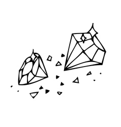 Sketch brilliant gems on a white background vector