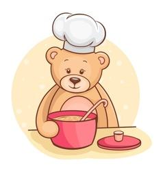 Teddy bear chef vector