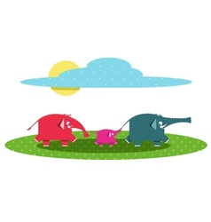Funny graphic elephants family vector