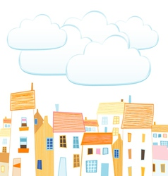City and clouds for your text vector