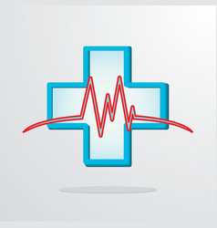 Medical cross with heart rhythm vector