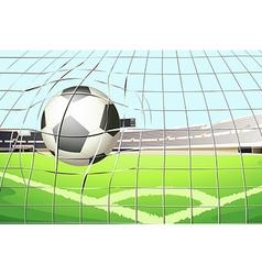 A ball hitting the soccer goal vector