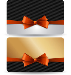 Holiday gift card with red ribbons and bow vector