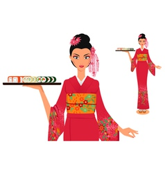 Waitress in kimono holds plate with sushi vector