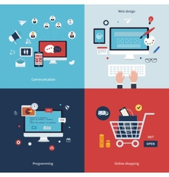 Icons for communication web design programming vector