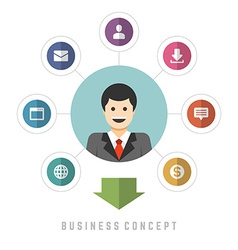 Business man concept and flat icons set money vector