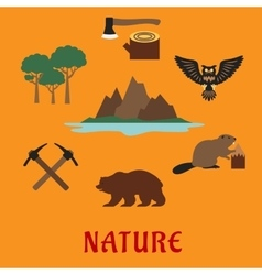 Canadian nature symbols flat icons vector