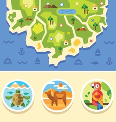 Ocean map with animals emblems vector