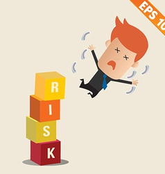 Cartoon businessman fall risk block - - eps1 vector