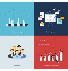 Icons for business strategy teamwork workflow vector