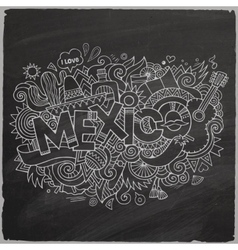 Mexico doodles elements chalkboard background vector