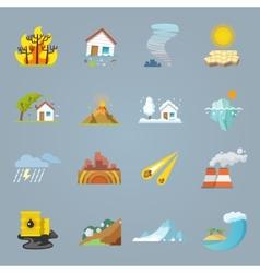 Natural disaster icons flat vector