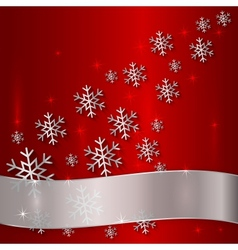 Red plate with snowflakes and white ribbon vector