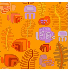 Seamless tribal pattern with aquatic animals vector