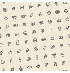 Light tilted seamless pattern with dark food icons vector