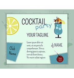 Summer cocktail party poster and banner layout vector
