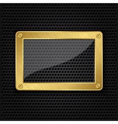 Glass in golden frame on abstract metal speaker gr vector